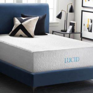 LUCID 16 Inch Plush Gel Memory Foam and Latex Mattress
